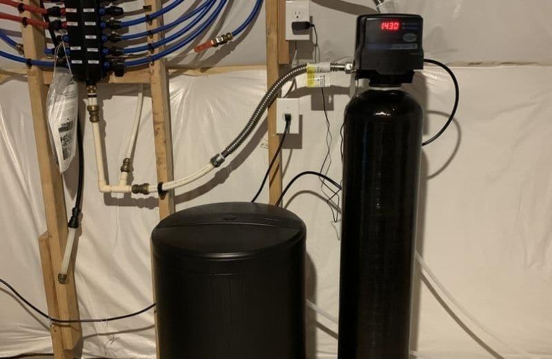 ion exchange water softener in basement