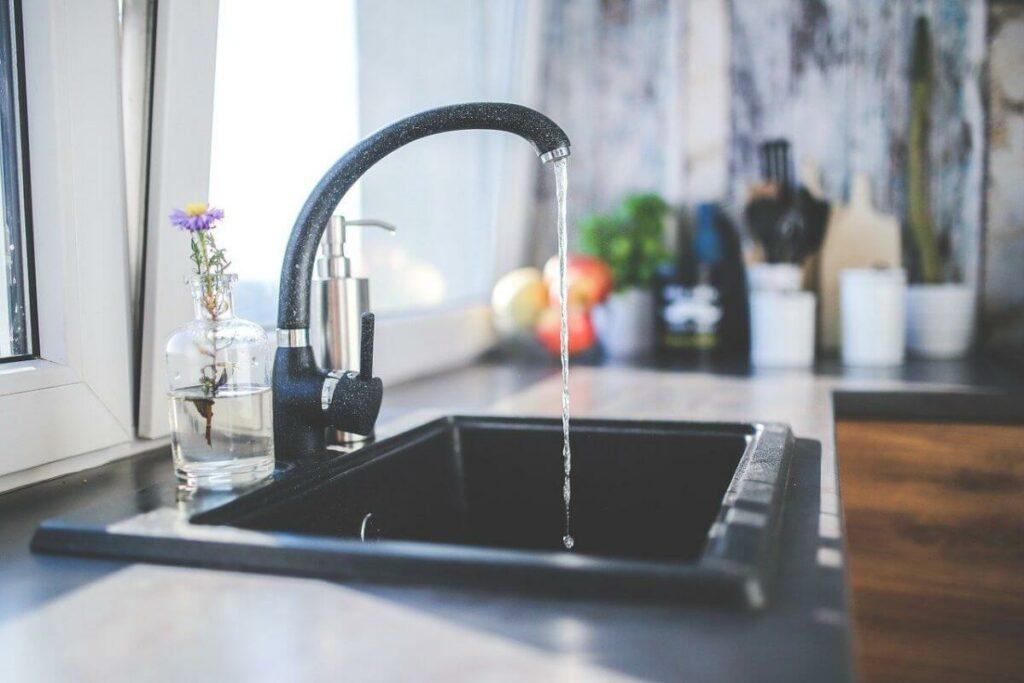 flowing water in sink