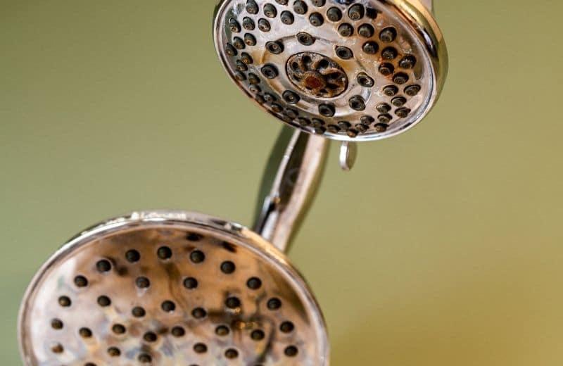 Hard Water Deposit on Shower Head